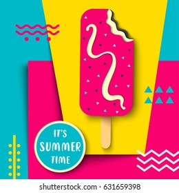 Vector delicious ice cream. Eye catching summer poster design. Bright illustration with ice cream, it's summer time label on the cool retro style background