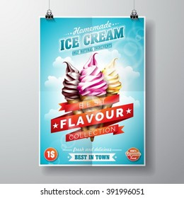 Vector delicious Ice Cream Flyer Design on sky background. Eps 10 illustration.