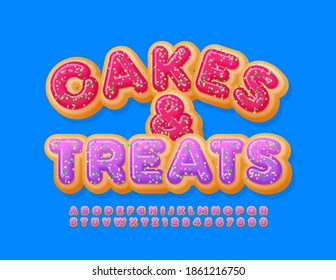 Vector delicious sign Cakes and Treats. Pink Glazed Font with Sprinkles. Donut Alphabet Letters and Numbers set