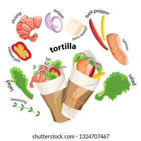 Vector delicious two Tortillas with seafood and ingredients around. Transparent background and titles.