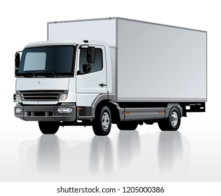 Vector delivery cargo truck template isolated on white. Available EPS-10 separated by groups and layers with transparency effects for one-click repaint