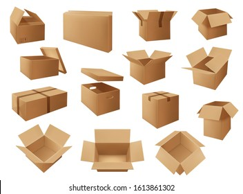 Vector delivery packages, storage boxes and mail parcels for cargo shipping, warehouse, postal and transportation service. Open and closed cardboard packs with carton lid and packaging marks