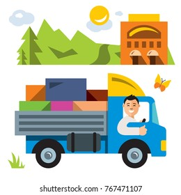 Vector Delivery service. Flat style colorful Cartoon illustration.