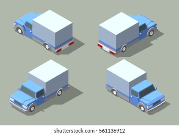 Vector delivery truck isometric set. Isolated on a green background