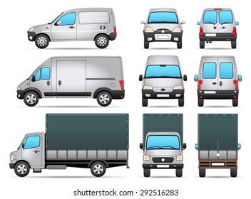 Vector Delivery Vehicles - Profile - Front - Rear view