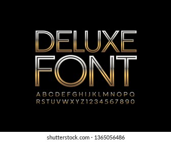 Vector Deluxe Font. Golden thin Alphabet Letters and Numbers for Business.