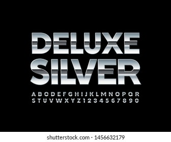 Vector Deluxe Silver Font. Metallic Alphabet Letters and Numbers.