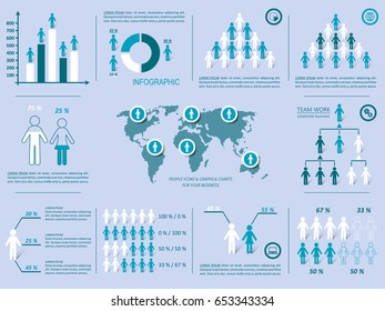 Vector demographic people icons with shadows infographic template