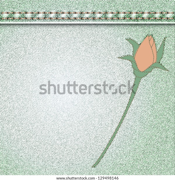 vector denim background with flower applique roses