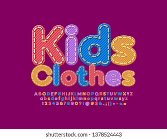 Vector denim emblem Kids Clothes with colorful Font. Jeans textured Alphabet Letters, Numbers and Symbols
