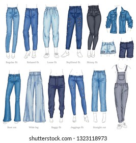 Vector denim female pants, shorts and jacket sketch icon set. Casual fashion trousers, shirts trendy garment for women. Urban fabric apparel, fashionable blue clothing. Isolated illustration