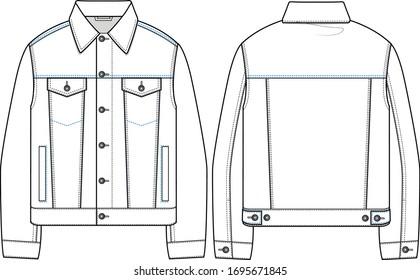 vector denim jacket, flat sketch western jacket