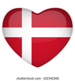 Vector - Denmark Flag Heart Glossy Button