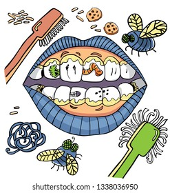 Vector dental hygiene humour with mouth showing dirty teeth with worms and plaque and vegetables. Suitable for posters framed up at dentist waiting room.