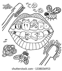 Vector dental hygiene humour with mouth showing dirty teeth with worms and plaque and vegetables. Black and white outlines. Suitable for posters framed up at dentist waiting room.