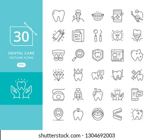 Vector dental medicine thin line icons. Modern thin line icons of dental care and dentist services. Dental care equipment, braces, tooth prosthesis, veneers, floss, caries treatment and more
