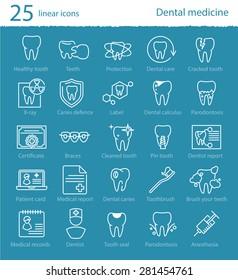 Vector dental medicine thin line icons set for web design, application or infographics