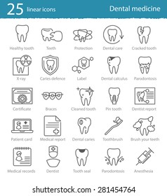 Vector dental medicine  thin line icons set for web design, application or infographics