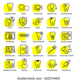 Vector dental medicine thin line icons set