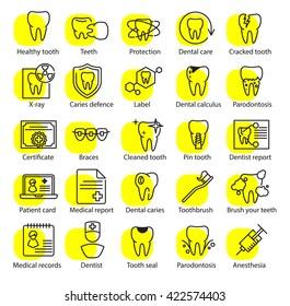 Vector dental medicine thin line icons set