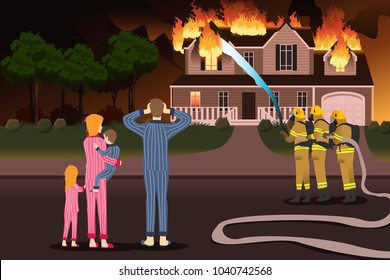 A vector description of Firemen Putting Out Fires of a Burning Home