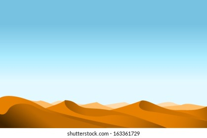 vector desert landscape background illustrarion, design of dunes and sky