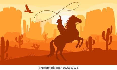 Vector desert landscape with cowboy on horse, mountains, cactus and eagle in the sky. Wild West Texas in flat cartoon style. Silhouette vector illustration.