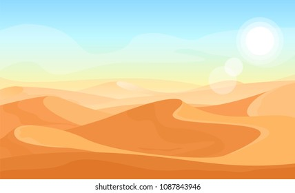 Vector desert landscape illustration. Cartoon nature sand desert with mountains. Flat style 2D background for games.