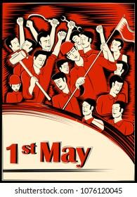 Vector design of 1st May Happy Labor Day on ocassion of International Workers' Day background