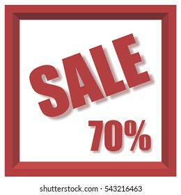 Vector design 3d isometric style 70% sale banner with drop shadow effect