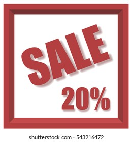 Vector design 3d isometric style 20% sale banner with drop shadow effect