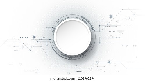 Vector design 3d paper circle with circuit board. Illustration Abstract modern futuristic, engineering, science, technology background. Hi tech digital connect, communication, high technology concept