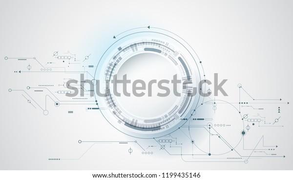 Vektor Design 3D-Papierkreis mit Schalttafel. Illustration Abstrakte moderne futuristische, technische, wissenschaftliche, technologische Hintergrund. Digitale High-Tech-Verbindung, Kommunikation, High-Tech-Konzept