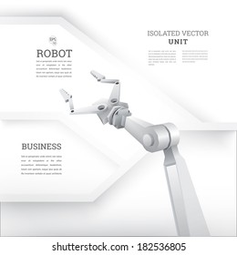 vector design. 3d design of a robot  realistic robot arm with an abstract minimal geometric white background composition with artistic text box and sections for infographics, web or printed brochure