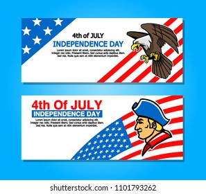 Vector design of 4th of July greetings banner