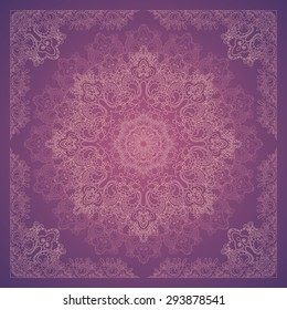 Vector design with abstract hand drawn pattern with decorative element. Template design for card or shawl.