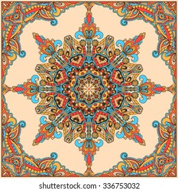 Vector design with abstract hand drawn pattern with decorative element. Template design for card or shawl. Detailed floral scarf design. Design for square pocket, shawl, textile.
