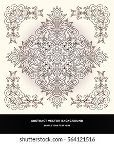 Vector design with abstract hand drawn waves pattern with decorative element. Template design for card.