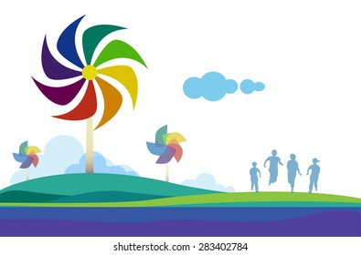 Vector Design Abstract of natural and energy, Nature and freedom life, Good view nature, Turbine and wind energy, quality of Life, think green