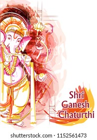 Vector design of Abstract painting of Indian Lord Ganpati for Ganesh Chaturthi festival of India