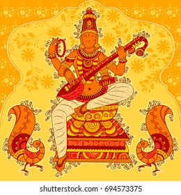 Vector design of Abstract Statue painting of Indian Goddess Saraswati sculpture in India art style