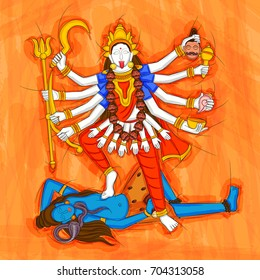 Vector design of Abstract Statue painting of Indian Goddess Kali sculpture