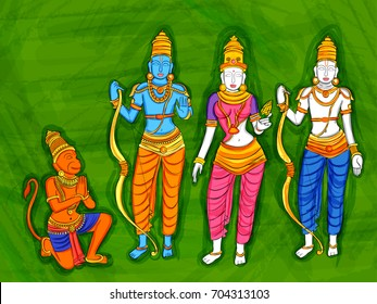 Vector design of Abstract Statue painting of Indian God Rama, Laxmana, Sita and Hanuman  sculpture