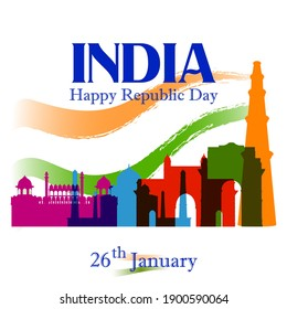 Vector design of abstract tricolor Indian flag background with famous historical monument for 26 January Happy Republic Day of India