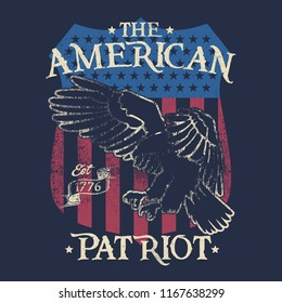 Vector design with american theme, background a badge of american, with eagle, vintage style, a patriotism design