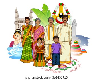 Vector design of Andhrait family showing culture of Andhra Pradesh, India