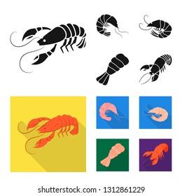 Vector design of appetizer and ocean symbol. Collection of appetizer and delicacy vector icon for stock.