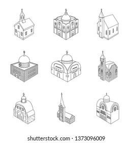 Vector design of architecture and building icon. Collection of architecture and clergy stock vector illustration.