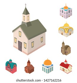 Vector design of architecture and building icon. Set of architecture and clergy stock vector illustration.