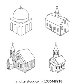Vector design of architecture and building logo. Collection of architecture and clergy stock symbol for web.